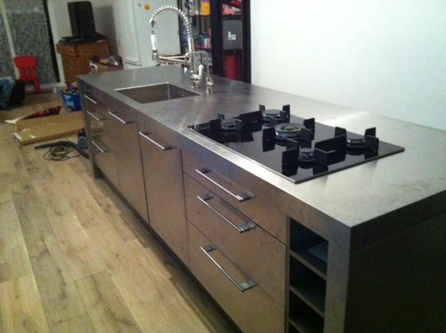 Industriele Keuken Particulier : RVS Keuken Keukenblad Achterwand Op Maat